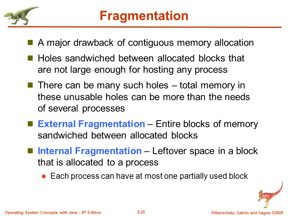 Fragmentation A major drawback of contiguous memory allocation