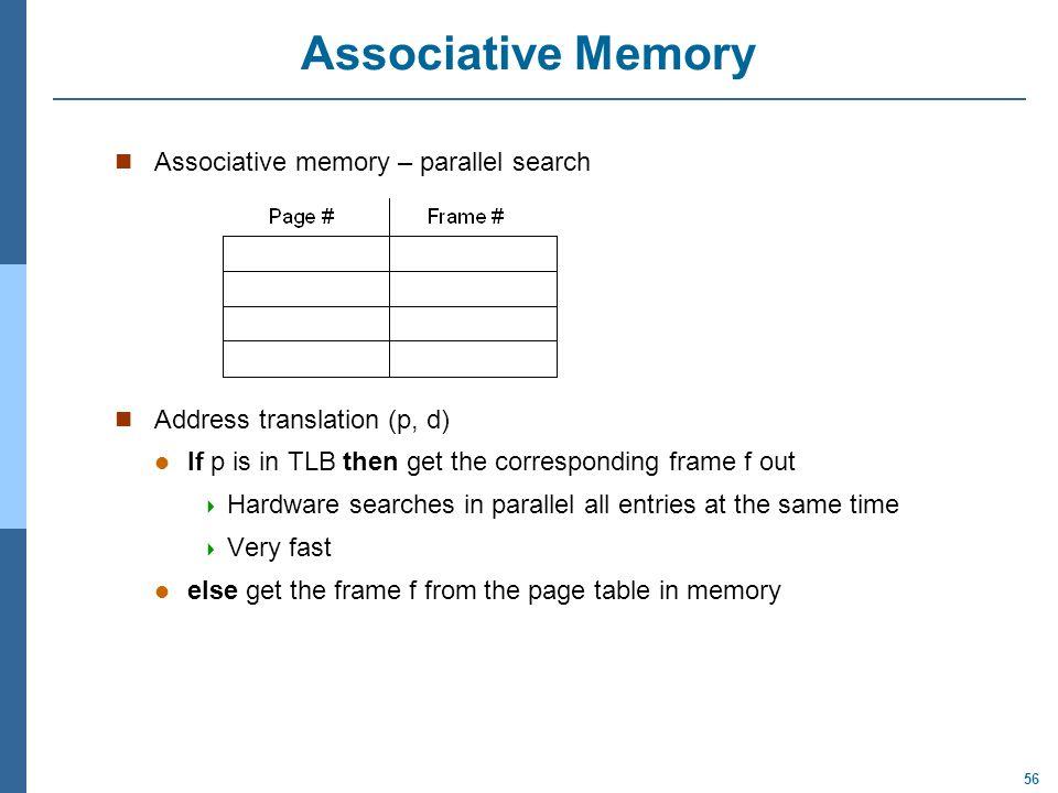 Associative Memory Associative memory – parallel search