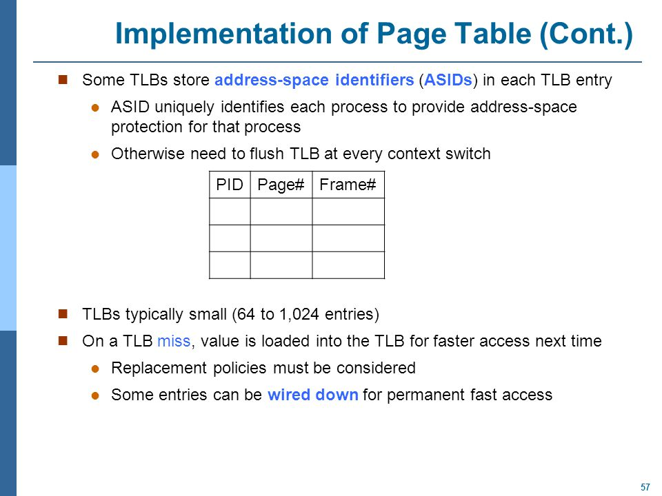 Implementation of Page Table (Cont.)
