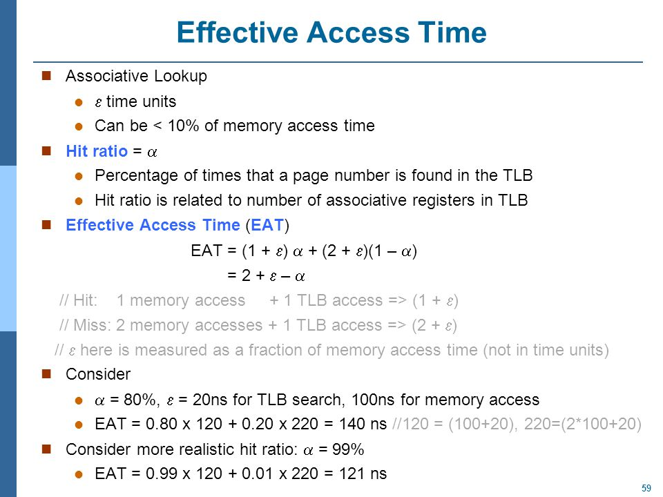 Effective Access Time Associative Lookup  time units