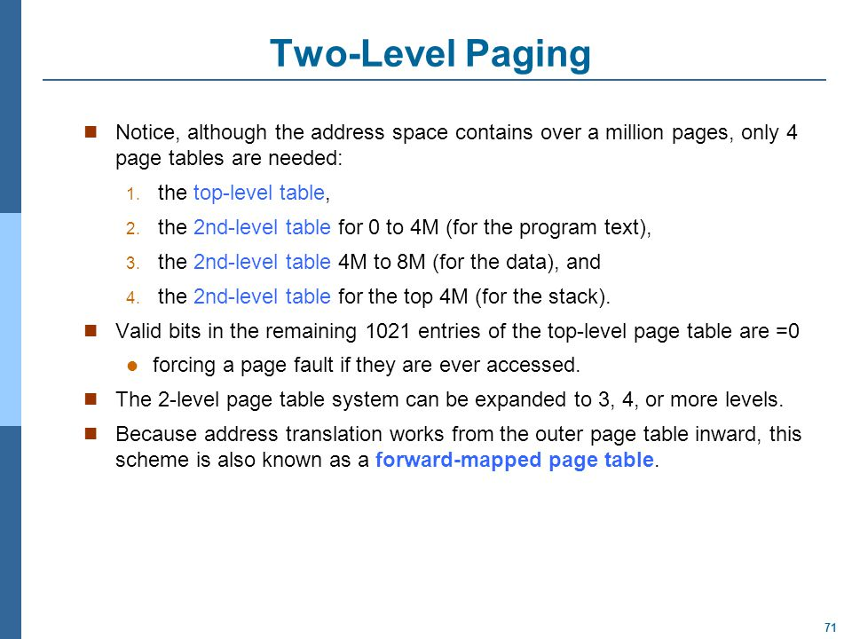 Two-Level Paging Notice, although the address space contains over a million pages, only 4 page tables are needed: