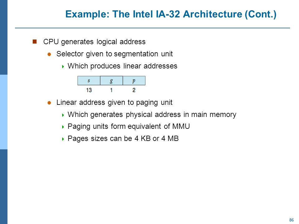 Example: The Intel IA-32 Architecture (Cont.)