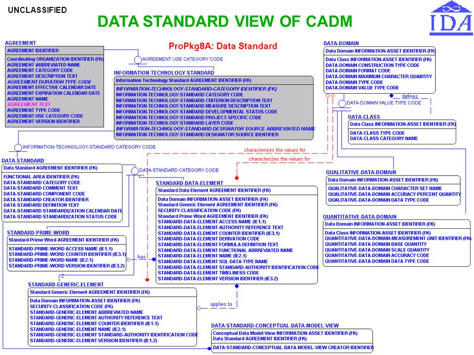 DATA STANDARD VIEW OF CADM