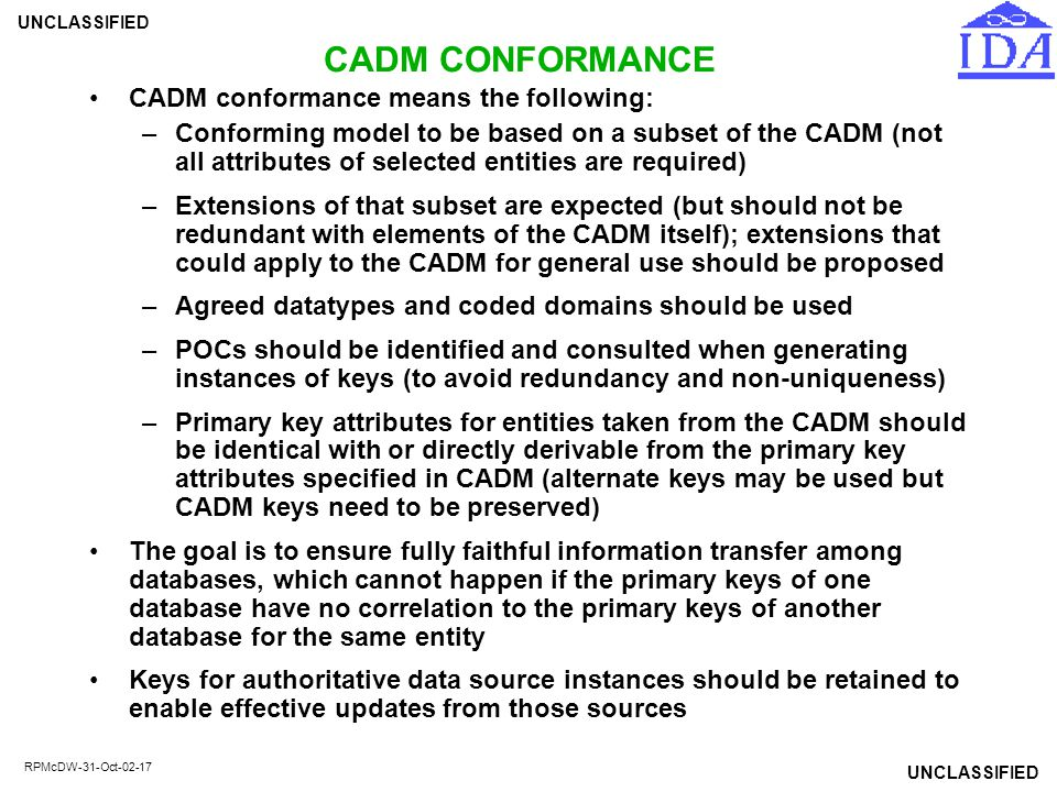 CADM CONFORMANCE CADM conformance means the following: