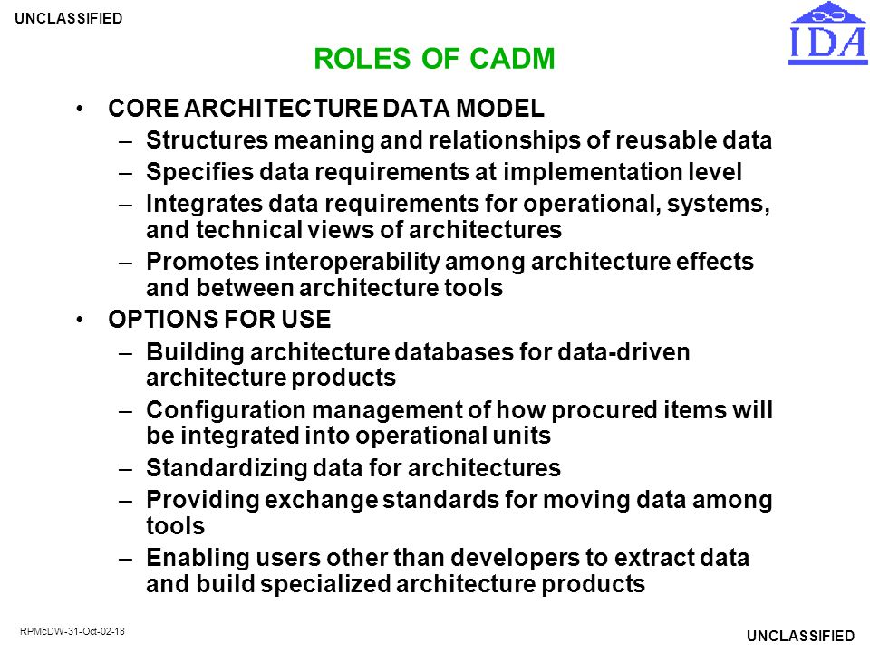 ROLES OF CADM CORE ARCHITECTURE DATA MODEL