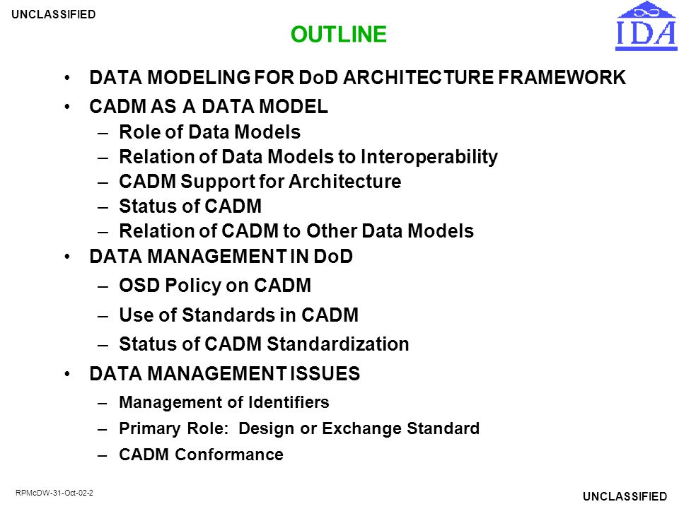 OUTLINE DATA MODELING FOR DoD ARCHITECTURE FRAMEWORK