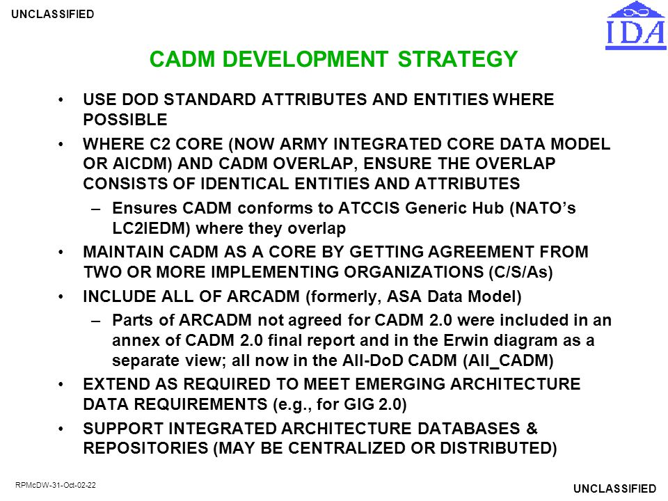 CADM DEVELOPMENT STRATEGY