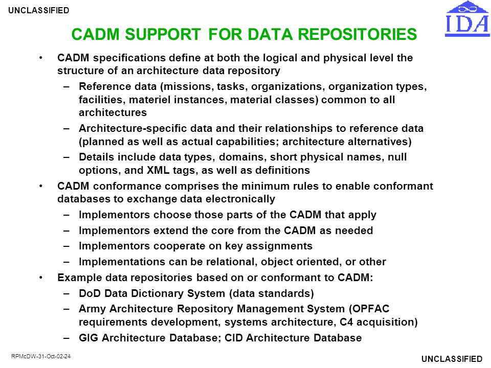 CADM SUPPORT FOR DATA REPOSITORIES