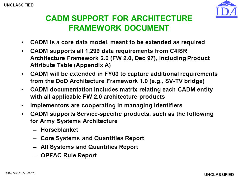 CADM SUPPORT FOR ARCHITECTURE FRAMEWORK DOCUMENT