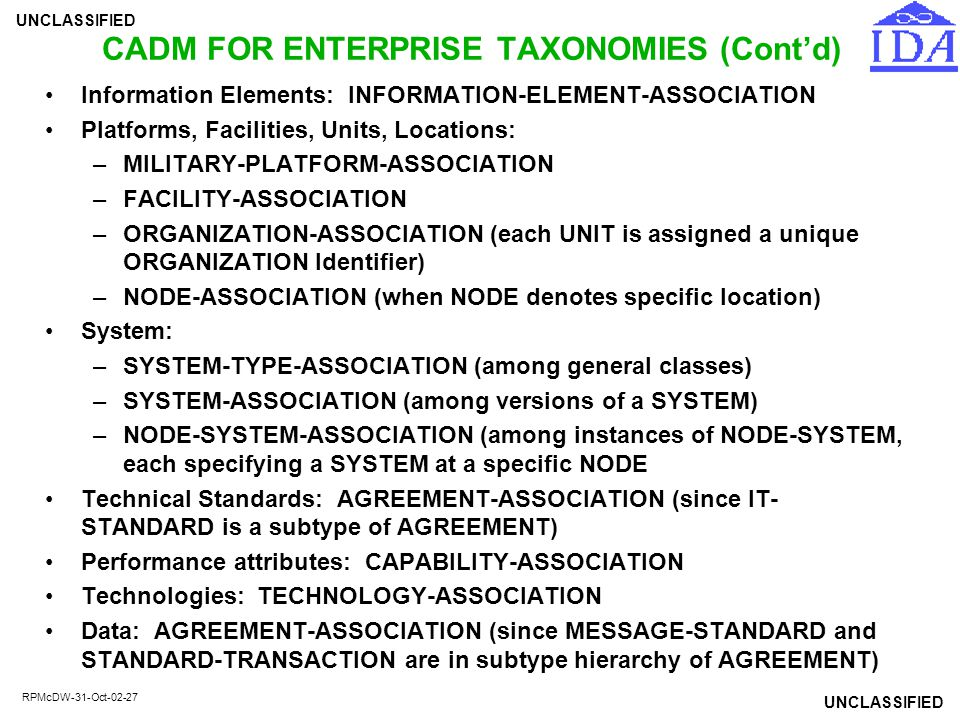 CADM FOR ENTERPRISE TAXONOMIES (Cont'd)
