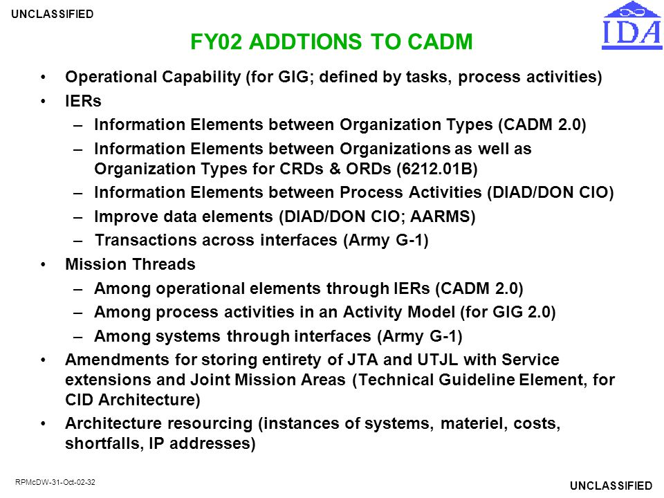 FY02 ADDTIONS TO CADM Operational Capability (for GIG; defined by tasks, process activities) IERs.