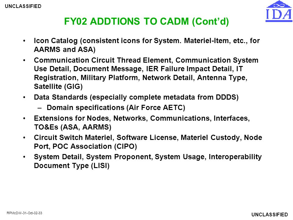 FY02 ADDTIONS TO CADM (Cont'd)
