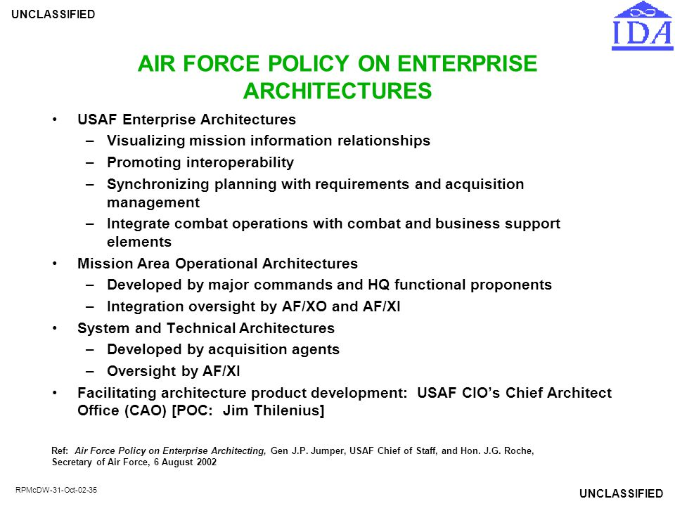 AIR FORCE POLICY ON ENTERPRISE ARCHITECTURES