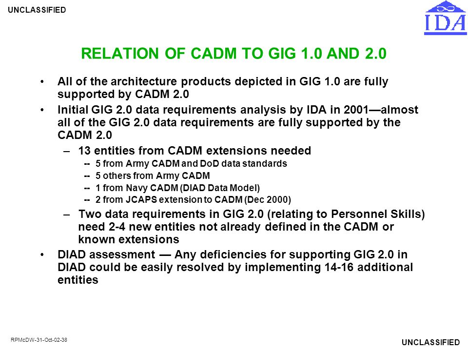 RELATION OF CADM TO GIG 1.0 AND 2.0
