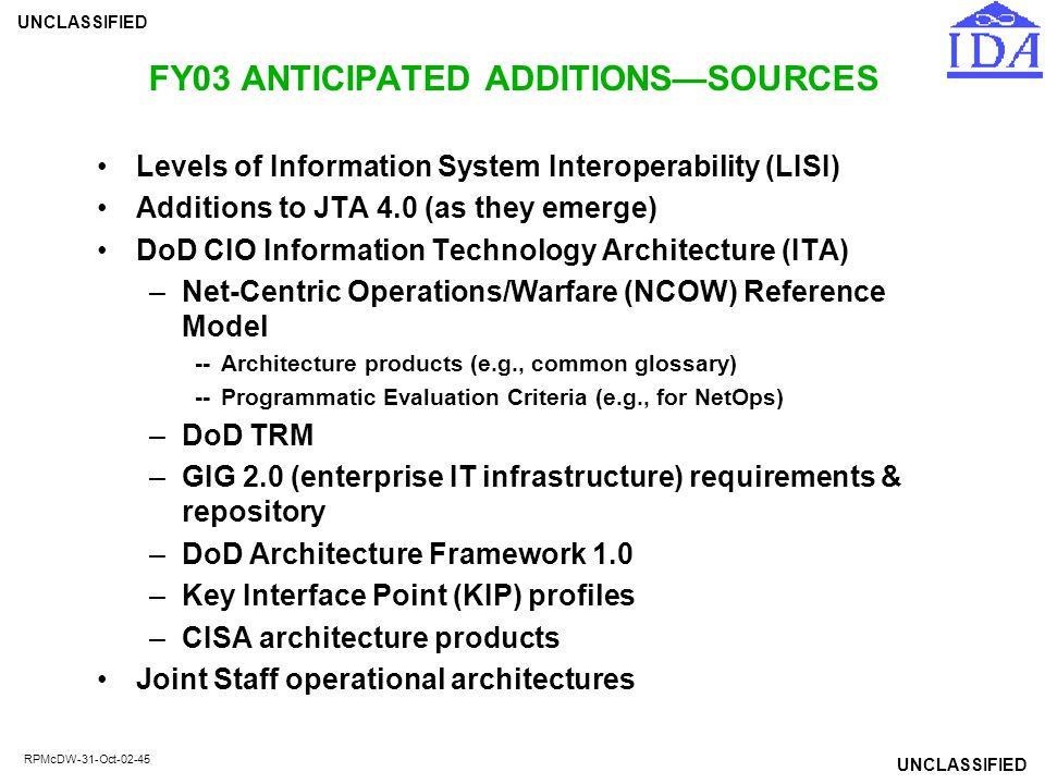FY03 ANTICIPATED ADDITIONS—SOURCES
