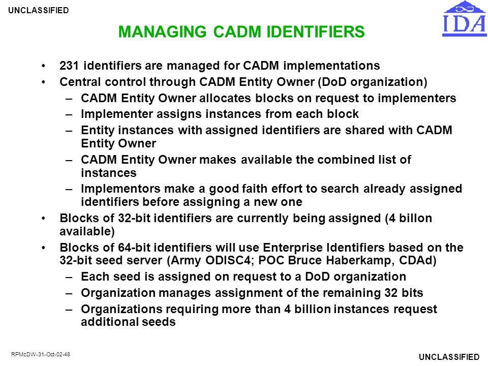 MANAGING CADM IDENTIFIERS