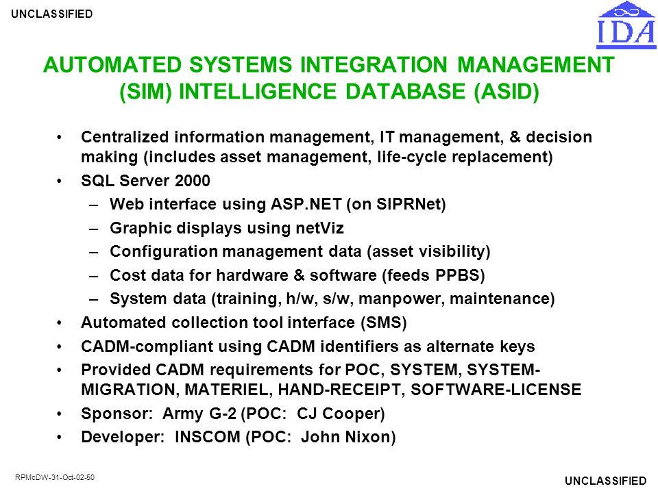 AUTOMATED SYSTEMS INTEGRATION MANAGEMENT (SIM) INTELLIGENCE DATABASE (ASID)