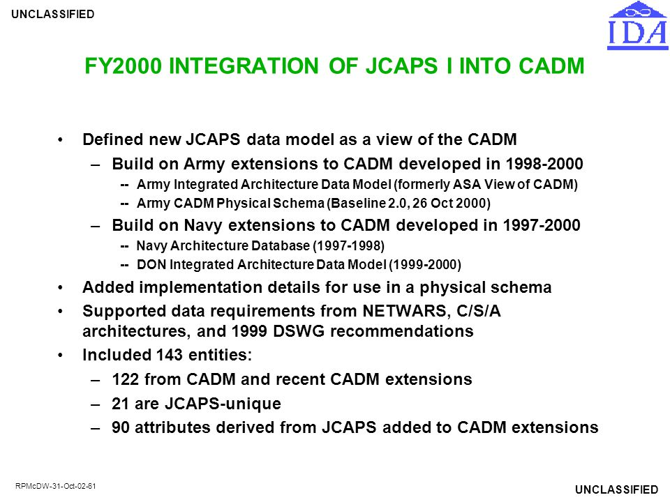 FY2000 INTEGRATION OF JCAPS I INTO CADM