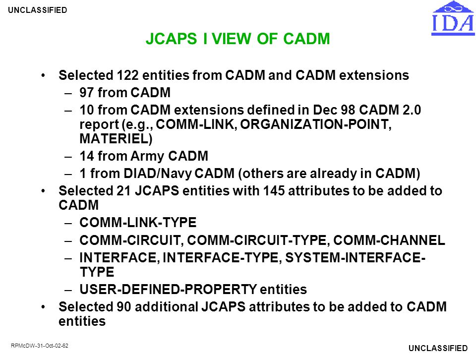 JCAPS I VIEW OF CADM Selected 122 entities from CADM and CADM extensions. 97 from CADM.