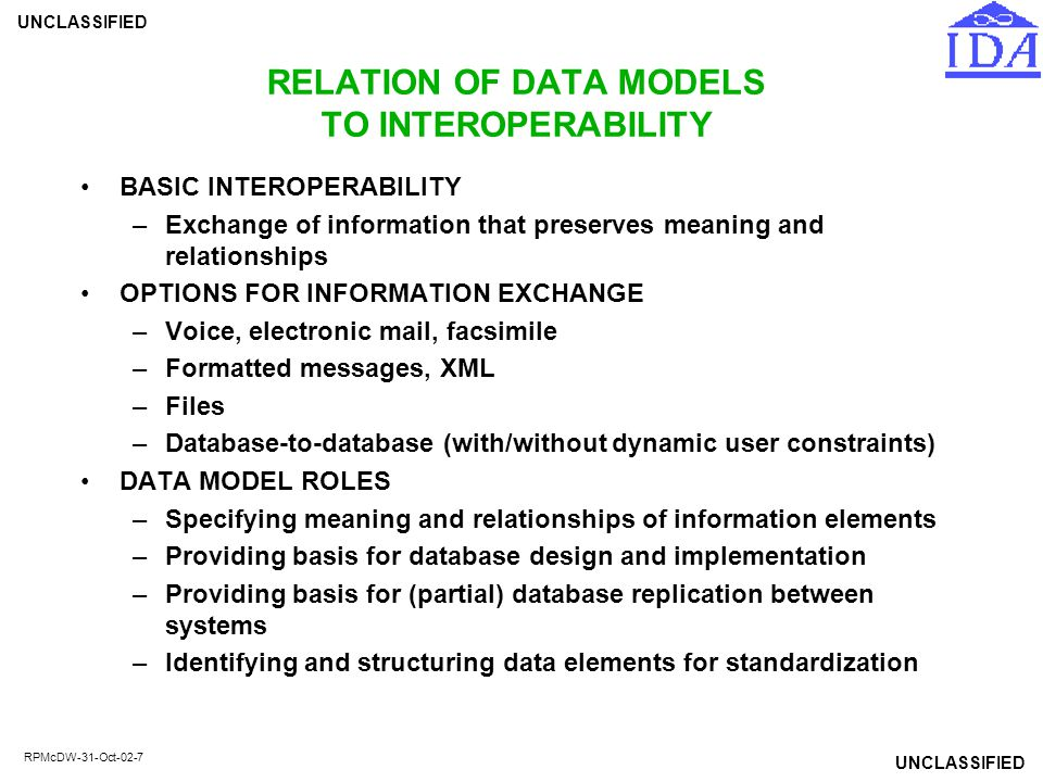 RELATION OF DATA MODELS TO INTEROPERABILITY