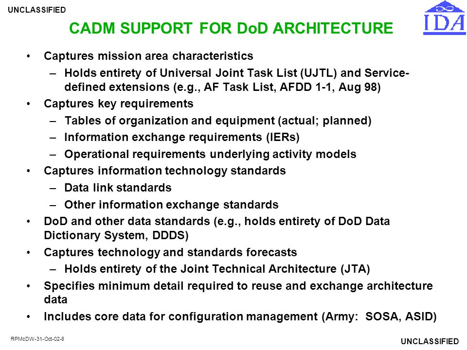 CADM SUPPORT FOR DoD ARCHITECTURE