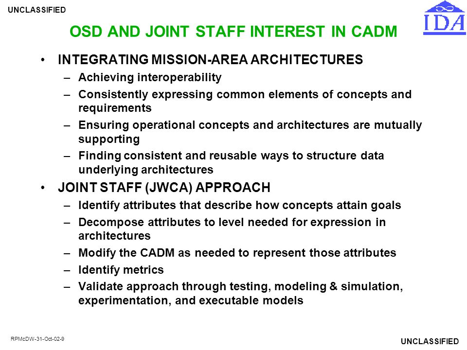 OSD AND JOINT STAFF INTEREST IN CADM