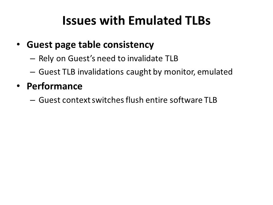 Issues with Emulated TLBs