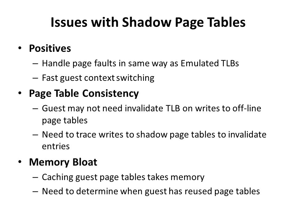 Issues with Shadow Page Tables