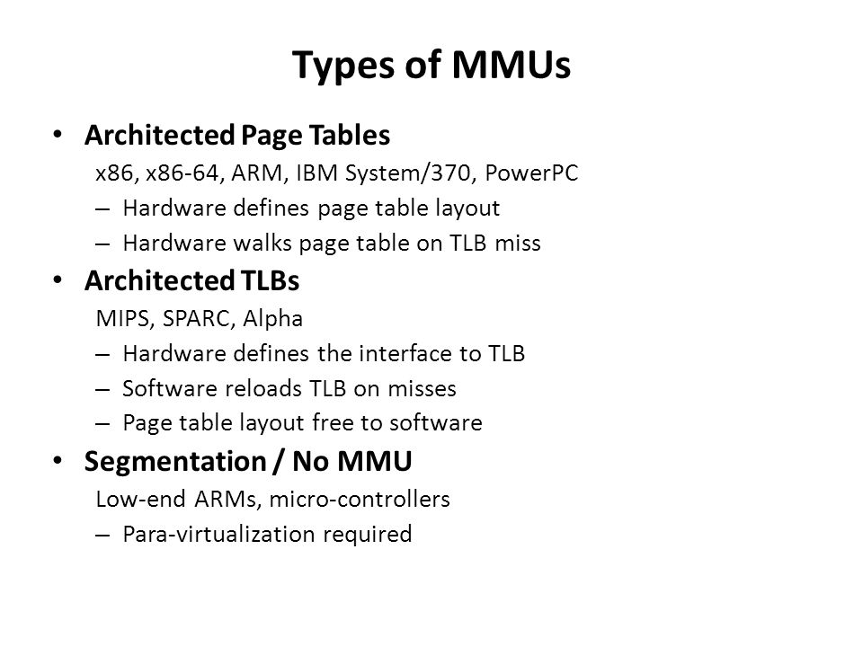 Types of MMUs Architected Page Tables Architected TLBs