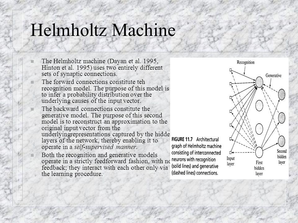 Helmholtz Machine The Helmholtz machine (Dayan et al. 1995, Hinton et al. 1995) uses two entirely different sets of synaptic connections.