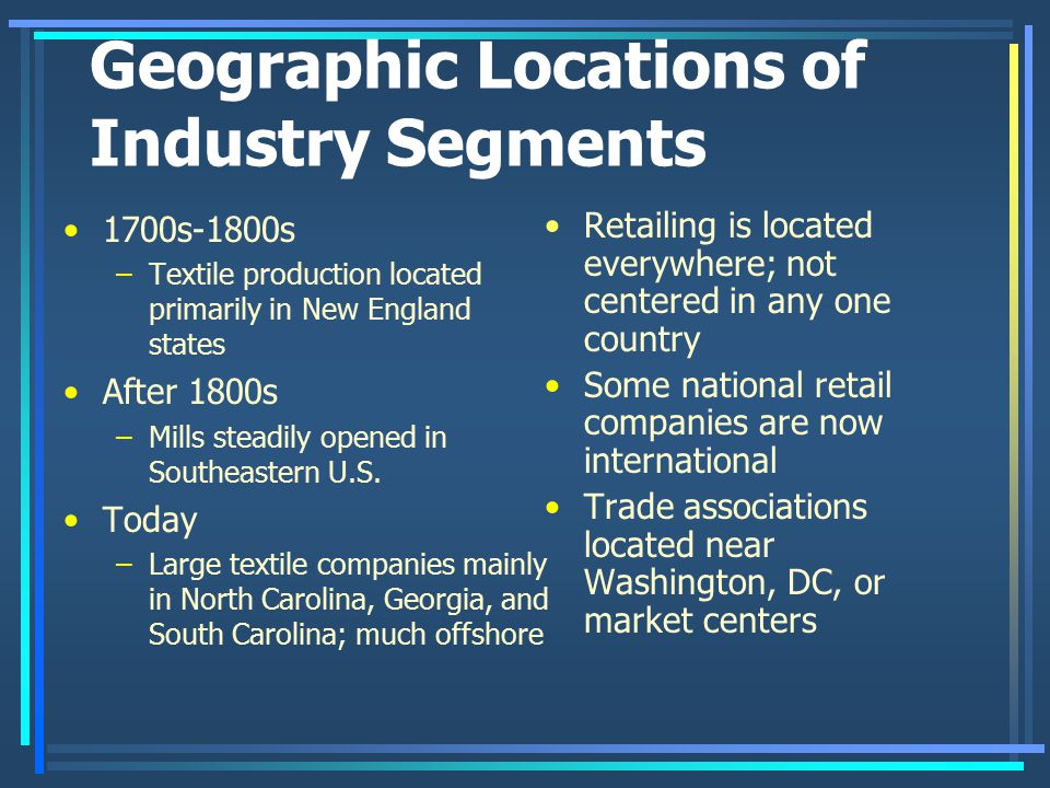 Geographic Locations of Industry Segments