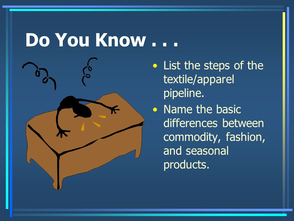 Do You Know . . . List the steps of the textile/apparel pipeline.
