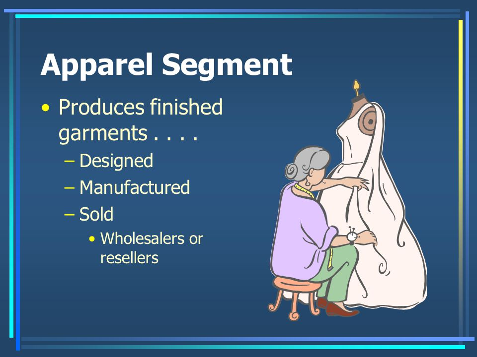 Apparel Segment Produces finished garments . . . . Designed