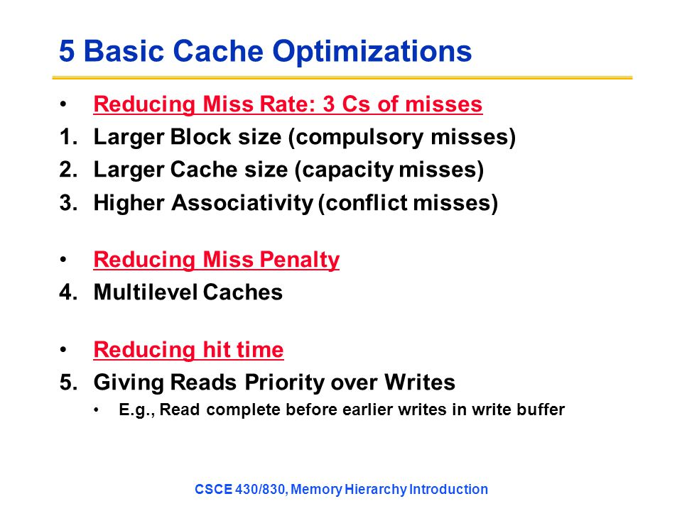 5 Basic Cache Optimizations