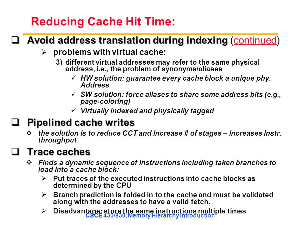 Reducing Cache Hit Time: