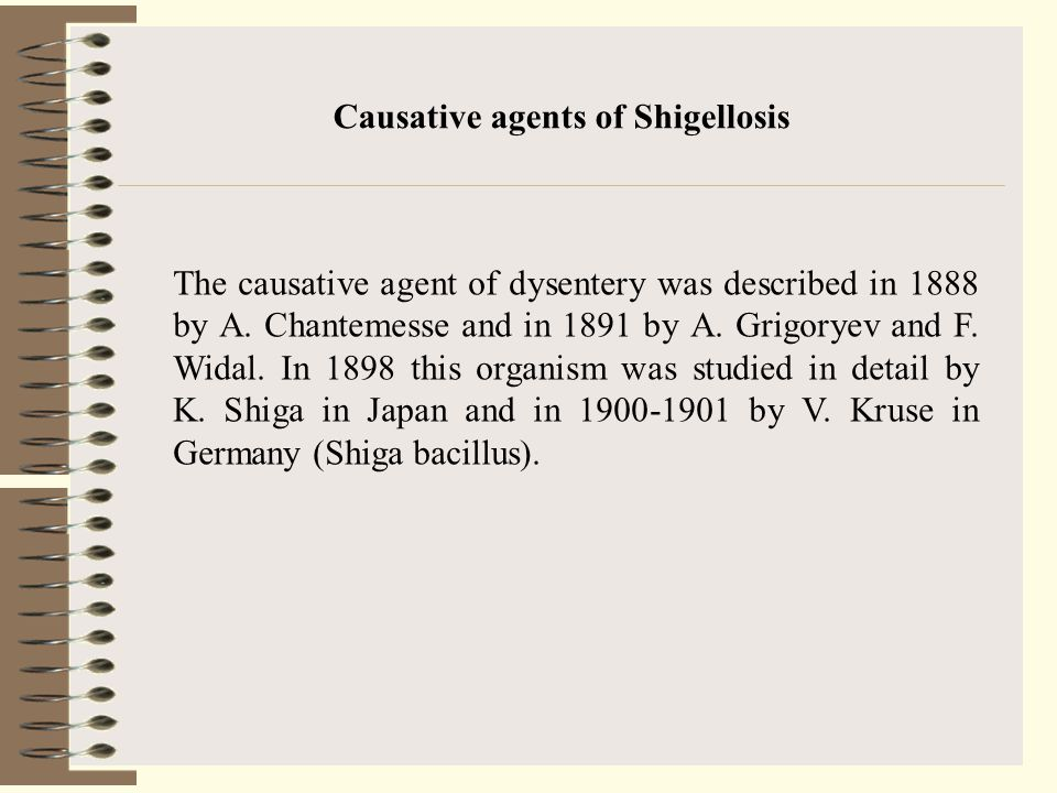 Causative agents of Shigellosis