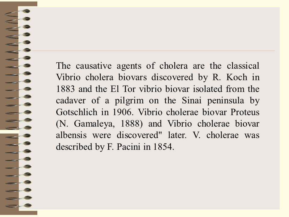 The causative agents of cholera are the classical Vibrio cholera biovars discovered by R.