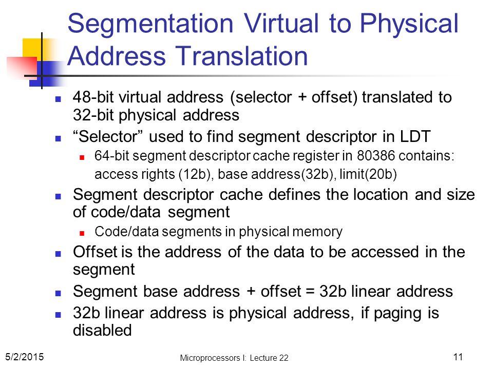 Segmentation Virtual to Physical Address Translation