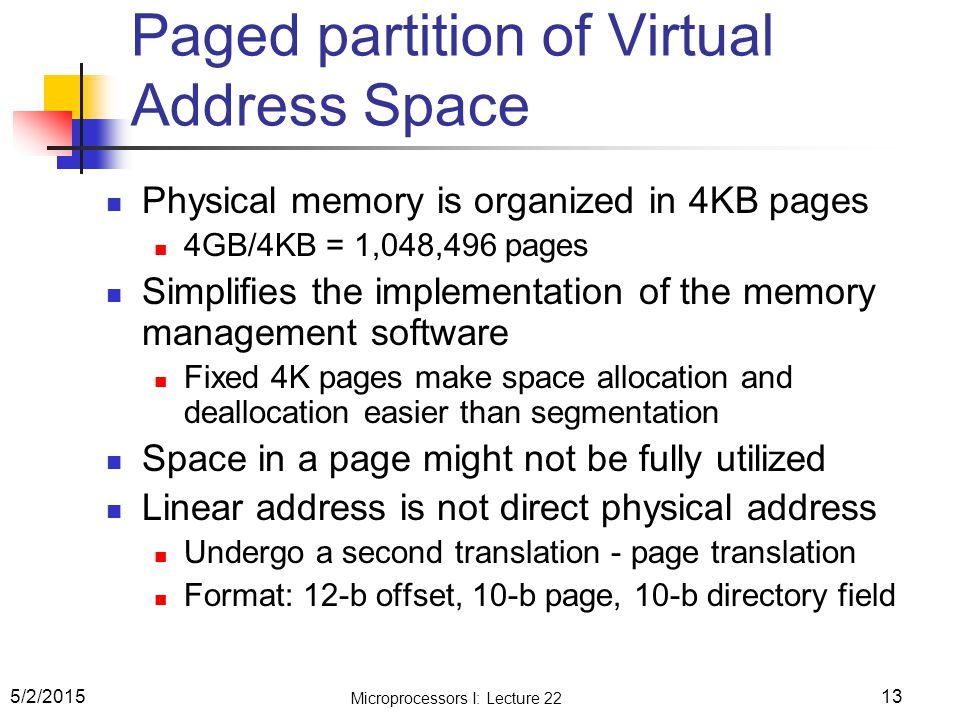 Paged partition of Virtual Address Space