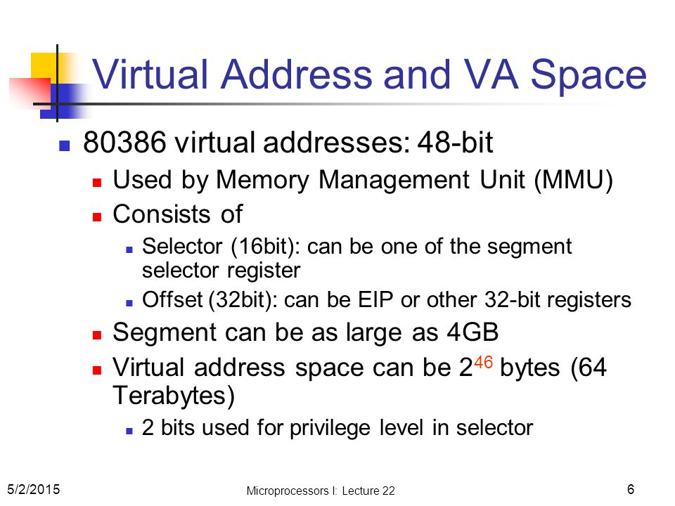 Virtual Address and VA Space