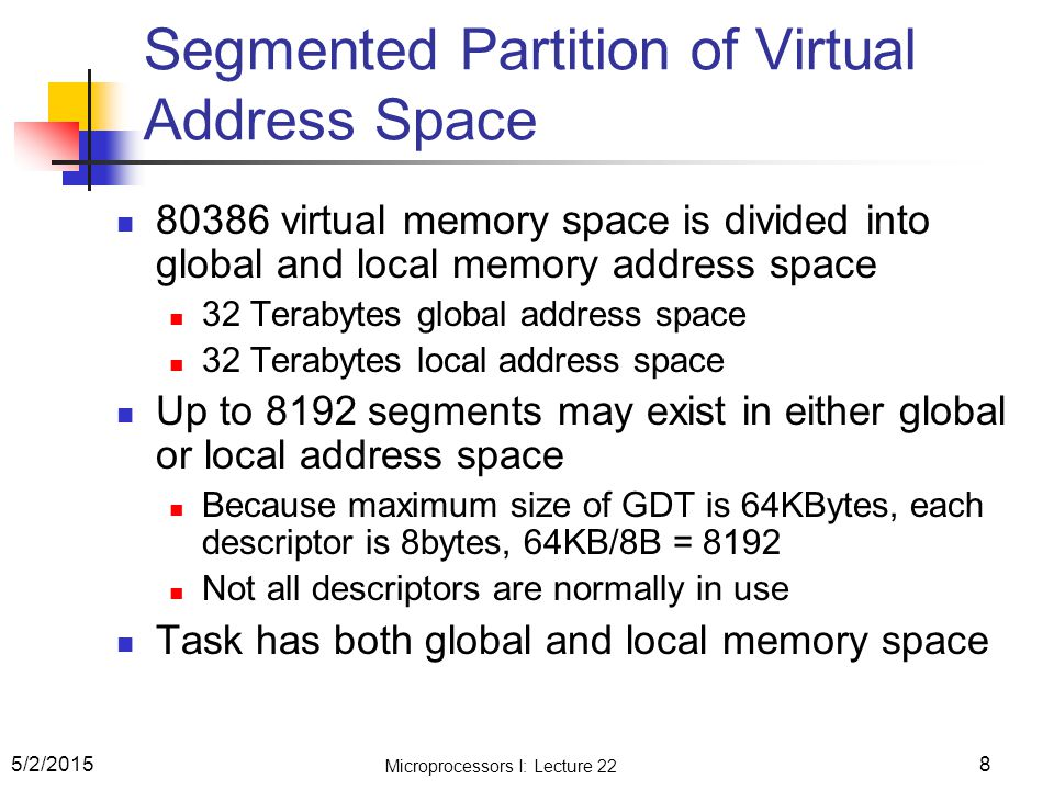Segmented Partition of Virtual Address Space