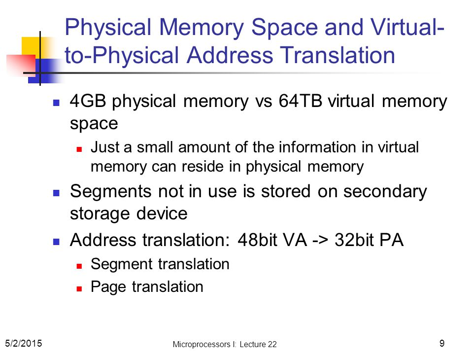 Physical Memory Space and Virtual-to-Physical Address Translation