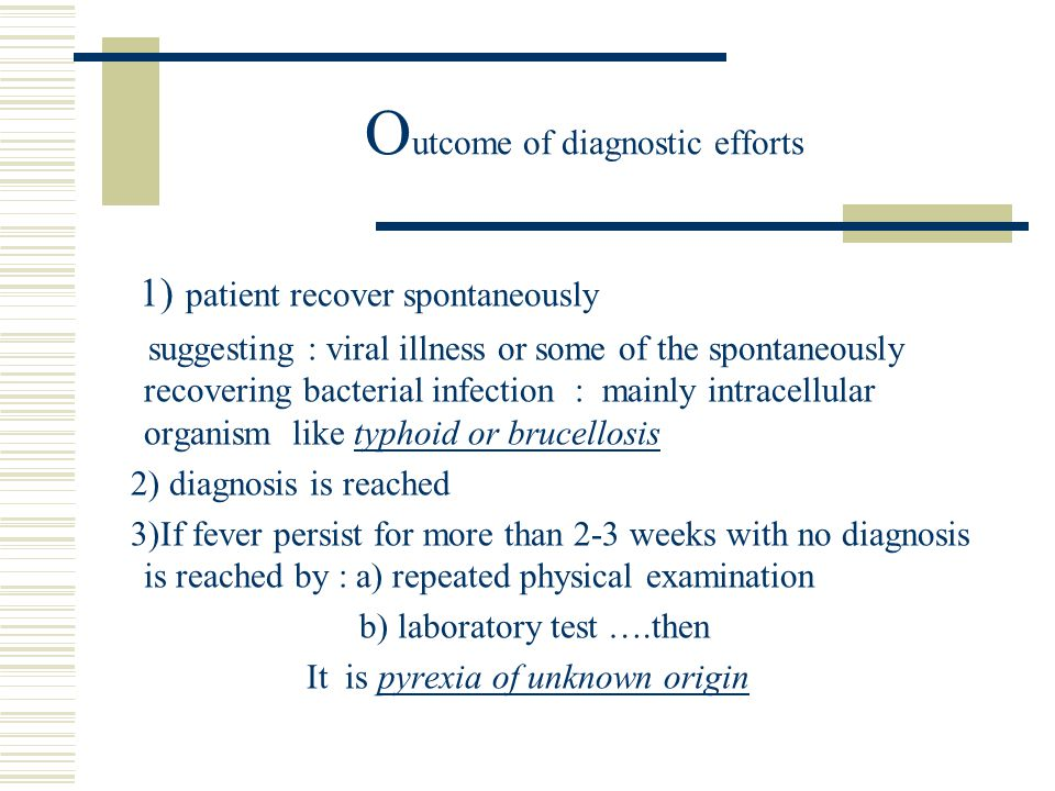 Outcome of diagnostic efforts