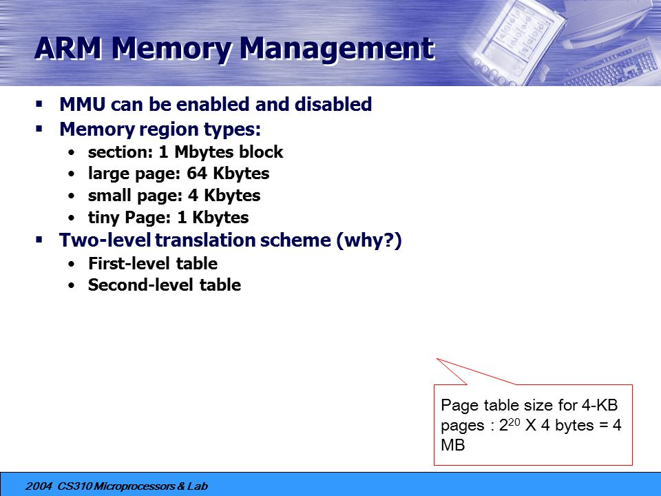 ARM Memory Management MMU can be enabled and disabled