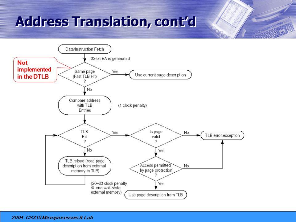 Address Translation, cont'd