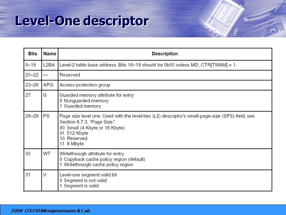 Level-One descriptor