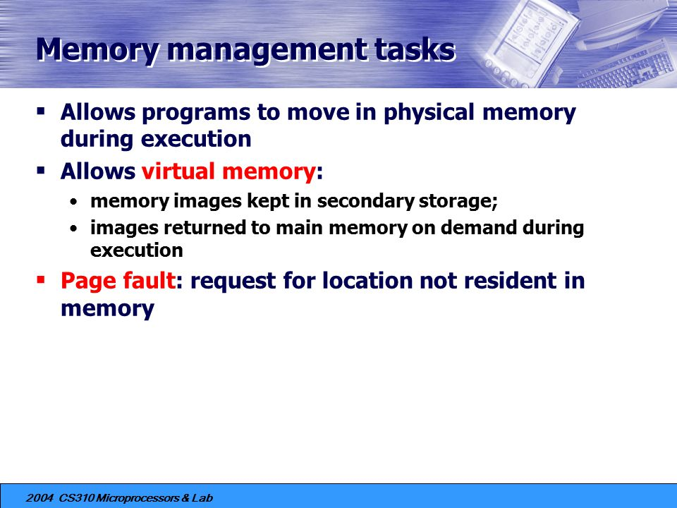 Memory management tasks