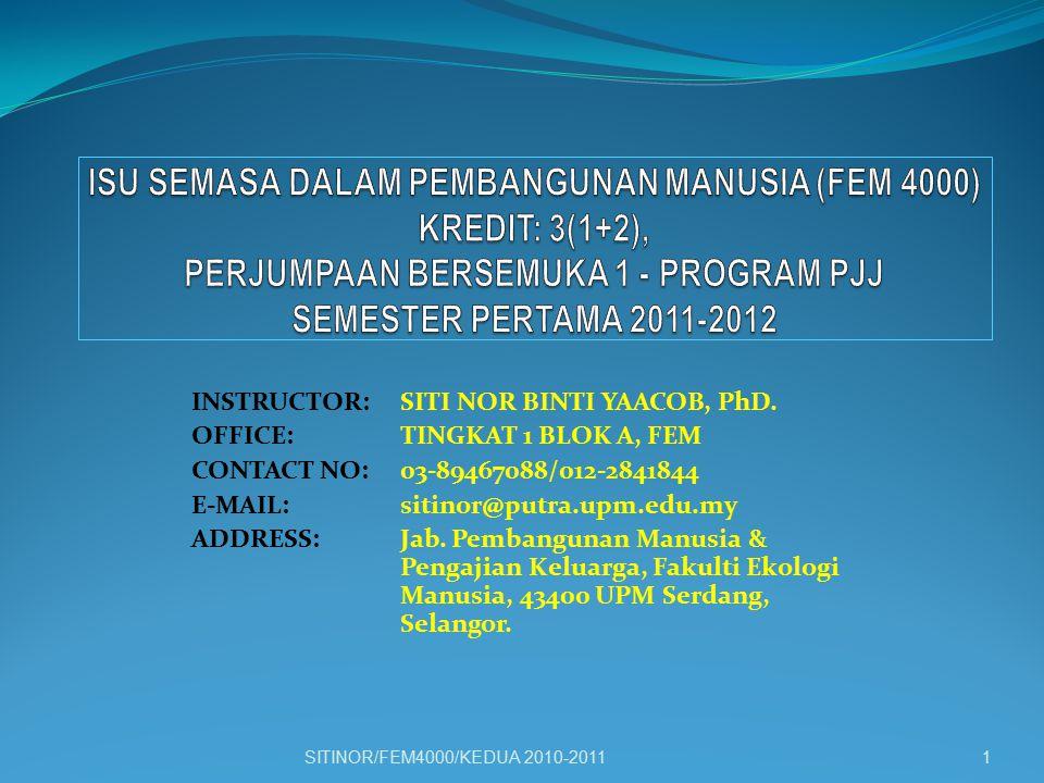 ISU SEMASA DALAM PEMBANGUNAN MANUSIA (FEM 4000) KREDIT: 3(1+2), PERJUMPAAN BERSEMUKA 1 - PROGRAM PJJ SEMESTER PERTAMA 2011-2012