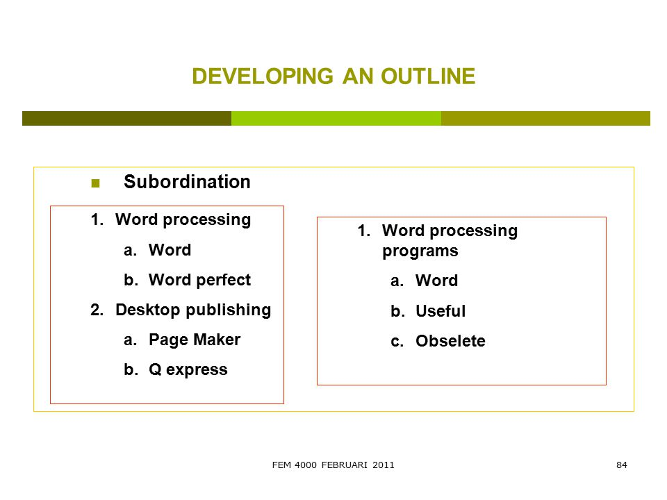 DEVELOPING AN OUTLINE Subordination Word processing Word