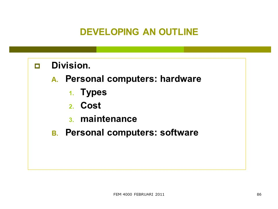 Personal computers: hardware Types Cost maintenance